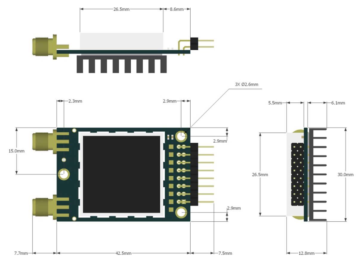 ابعاد تلمتری و دیتالیک +RFD 868